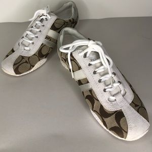 Women's Coach sneakers tan and white size 5